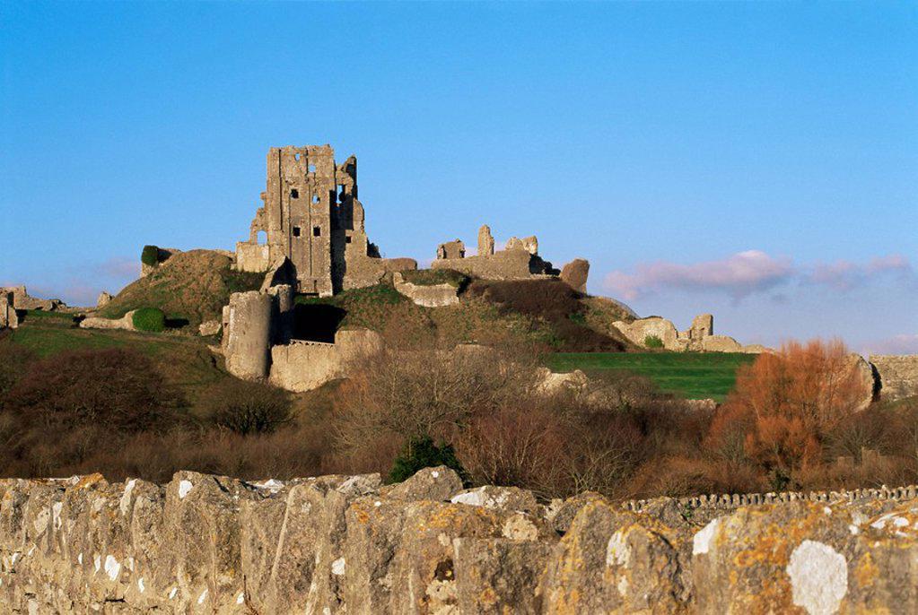 Corfe Castle, Corfe, Dorset, England, United Kingdom, Europe : Stock Photo