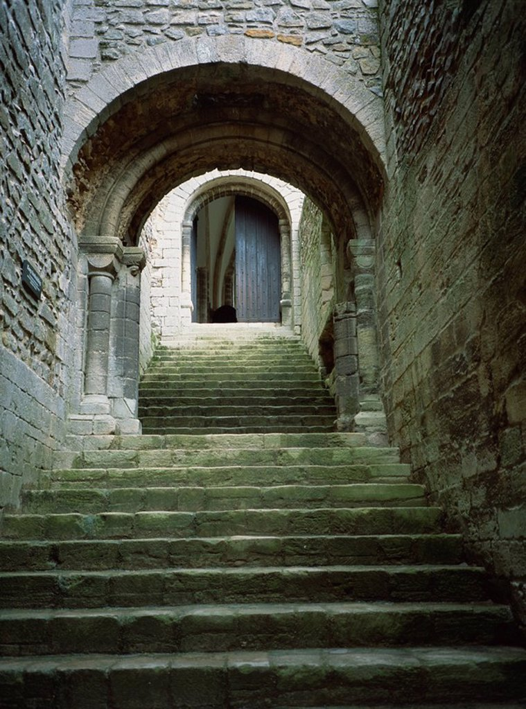 Stock Photo: 1890-38629 Stairs to keep of castle, Castle Rising, Norfolk, England, United Kingdom, Europe