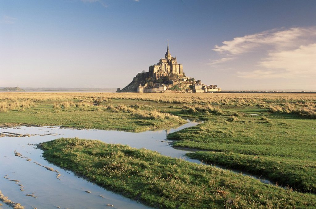 Mont St. Michel, UNESCO World Heritage Site, Basse Normandie, France, Europe : Stock Photo