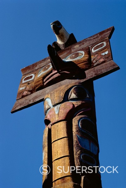 Stock Photo: 1890-3911 Totems, Thunderbird Park, Victoria, British Columbia, Canada, North America