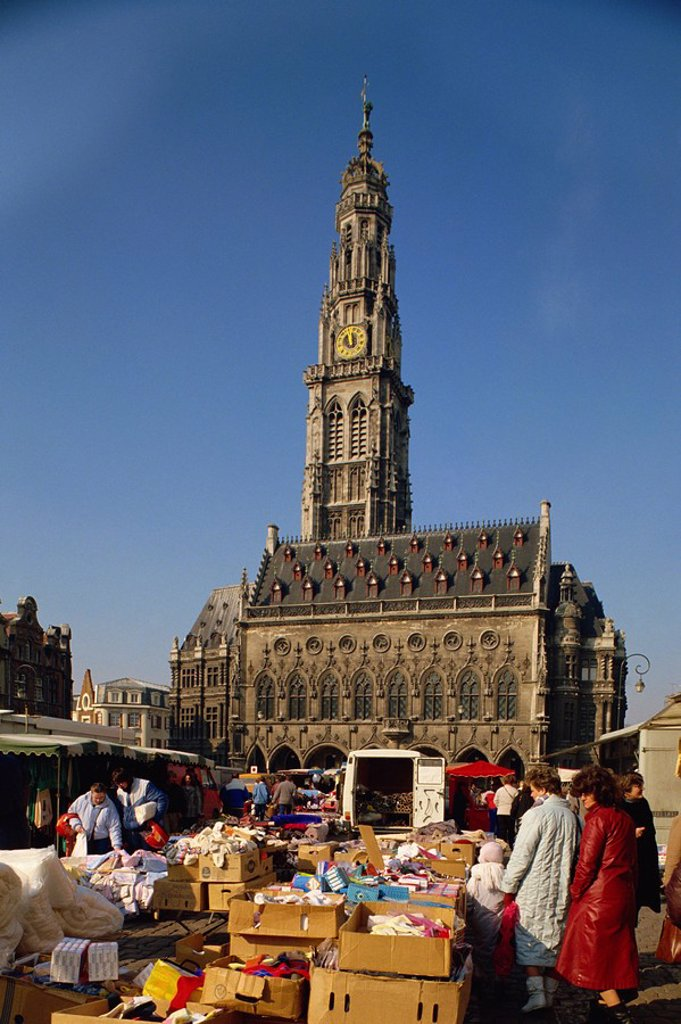 Stock Photo: 1890-39255 Town Square with market, Arras, Nord Pas de Calais, France, Europe