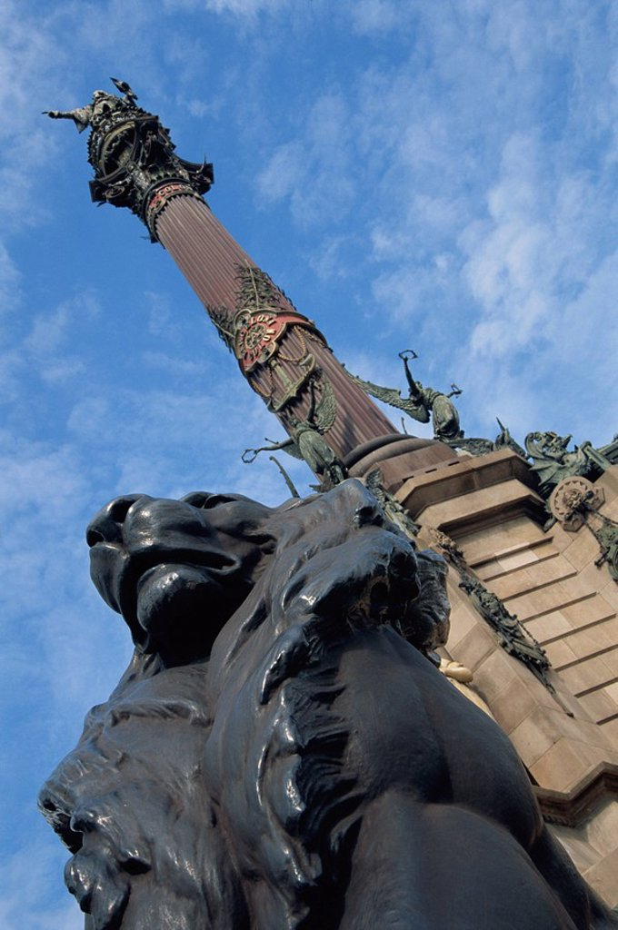 Stock Photo: 1890-39503 Low angle view close_up of the statue of a lion on the Columbus Monument in Barcelona, Catalunya Catalonia Cataluna, Spain, Europe