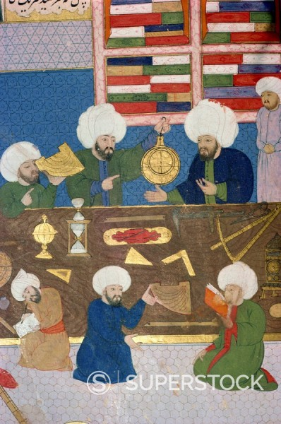 Islamic manuscript showing astronomers at work : Stock Photo