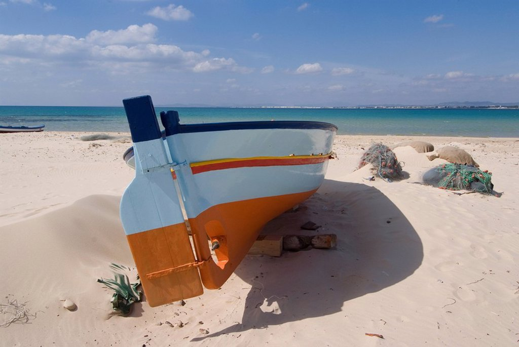 Fishing boats, Hammamet, Tunisia, North Africa, Africa : Stock Photo