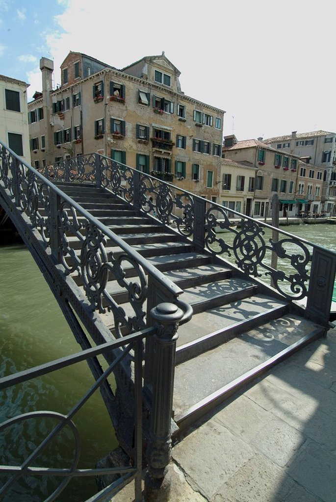 Stock Photo: 1890-40399 Bridge entrance to historic Ghetto over canal, Venice, Veneto, Italy, Europe