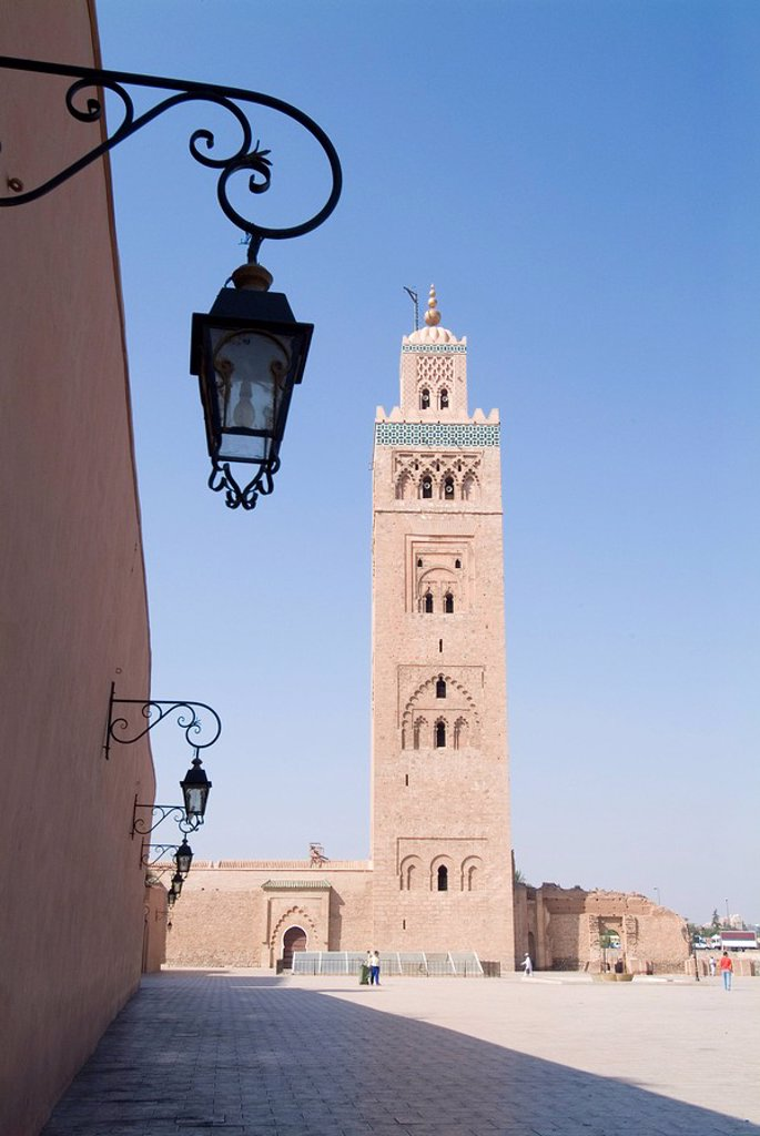 Stock Photo: 1890-40588 Koutoubia minaret Booksellers Mosque, Marrakech, Morocco, North Africa, Africa