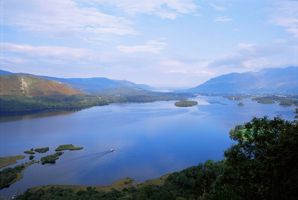 Stock Photo: 1890-41070 Keswick and Derwent Water from Surprise View, Lake District National Park, Cumbria, England, United Kingdom, Europe