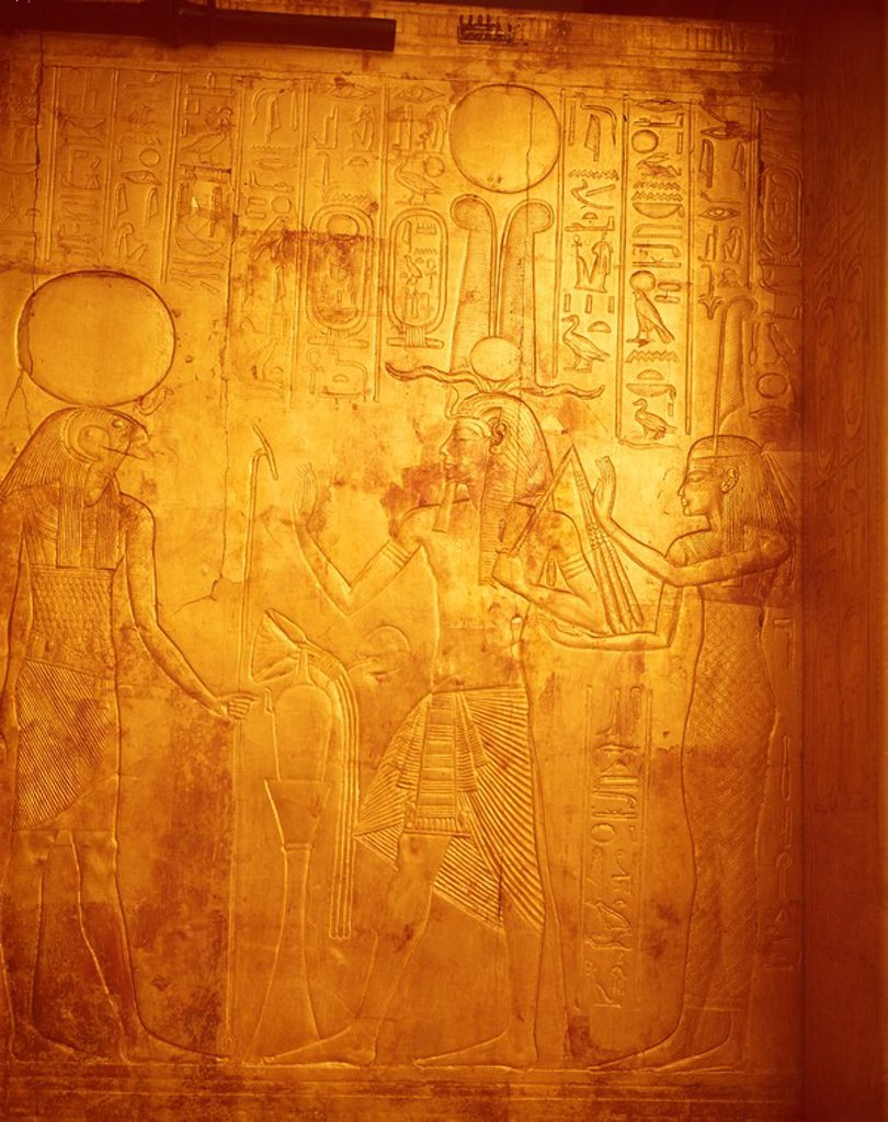 Stock Photo: 1890-41765 Detail of the king wearing Osiris crown with gods Reherakte and Maat on shrine of Tutankhamun, Cairo Museum, Egypt, North Africa, Africa
