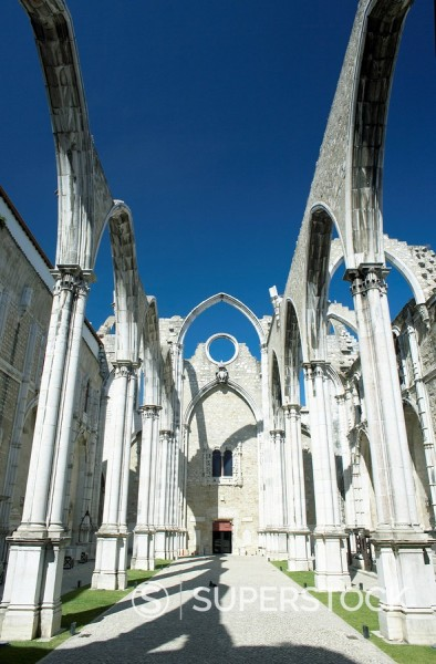 Stock Photo: 1890-42480 Church do Carmo ruins demolished by the 1755 earthquake, Lisbon, Portugal, Europe