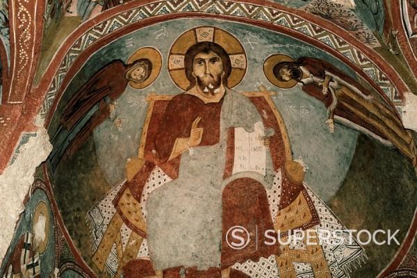 Stock Photo: 1890-42687 Christian frescoes in Sandal Church, Goreme Open Air Museum, Goreme, Cappadocia, Anatolia, Turkey, Asia Minor, Eurasia