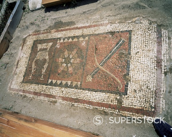 Stock Photo: 1890-42730 Mosaic representing the lyre, sun and bow, the three symbols of Apollo, ruins of the Apollo Temple at Letoon, near Fethiye, Anatolia, Turkey, Asia Minor, Eurasia