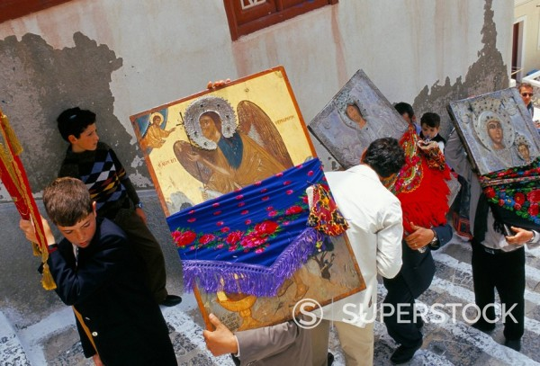 Stock Photo: 1890-42818 People carrying icons during the celebration of Lambri Triti, Eastern Orthodox Christian festival, Olymbos Olimbos, Karpathos, Dodecanese islands, Greece, Mediterranean, Europe