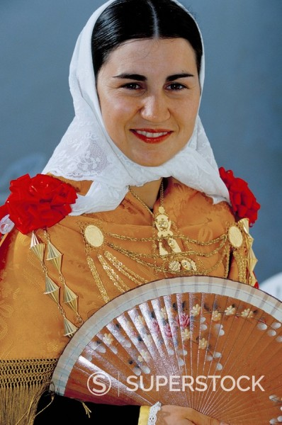 Stock Photo: 1890-42862 Portrait of a young country woman wearing typical dress and jewellery, Sant Miguel de Balansat, Ibiza, Balearic Islands, Spain, Meidterranean, Europe