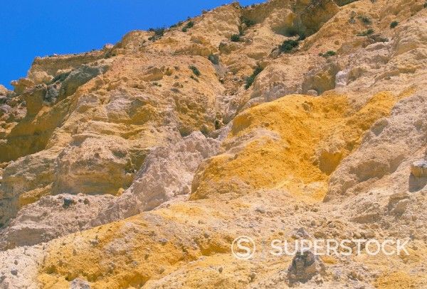 Orange volcanic rock, Nisyros, Dodecanese islands, Greece, Mediterranean, Europe : Stock Photo