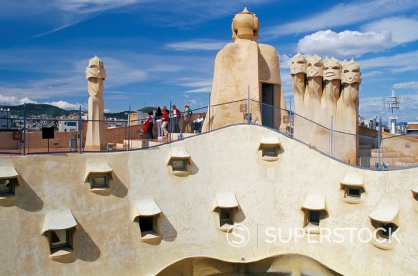 Stock Photo: 1890-42982 View of Gaudi´s Casa Mila modernist roof terrace, La Pedrera, Barcelona, Catalonia Cataluna Catalunya, Spain, Europe