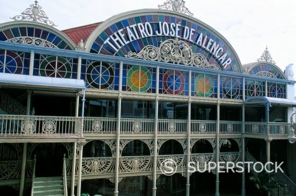 Theatro Jose de Alencar theatre, a pastel coloured hybrid of classical and art nouveau architecture, Fortaleza, Ceara´, Brazil, South America : Stock Photo