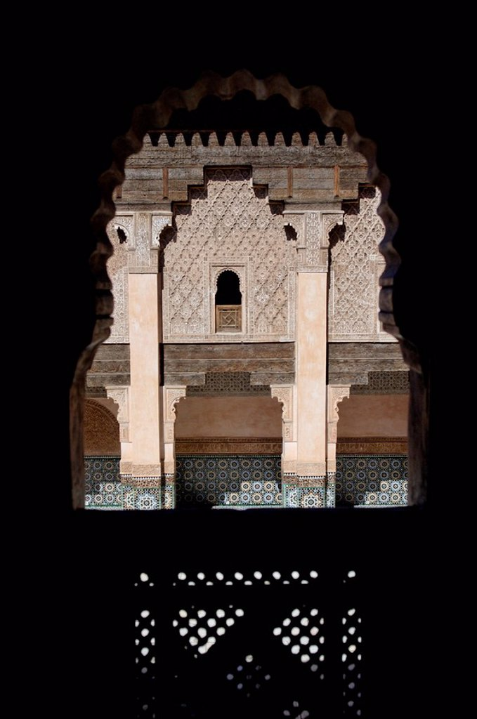 The Medersa Ben Youssef, the largest in Morocco, built by the Almoravide dynasty and then rebuilt in the 19th century, richly decorated in marble, carved wood and plasterwork, Medina, Marrakesh, Morroco, North Africa, Africa : Stock Photo