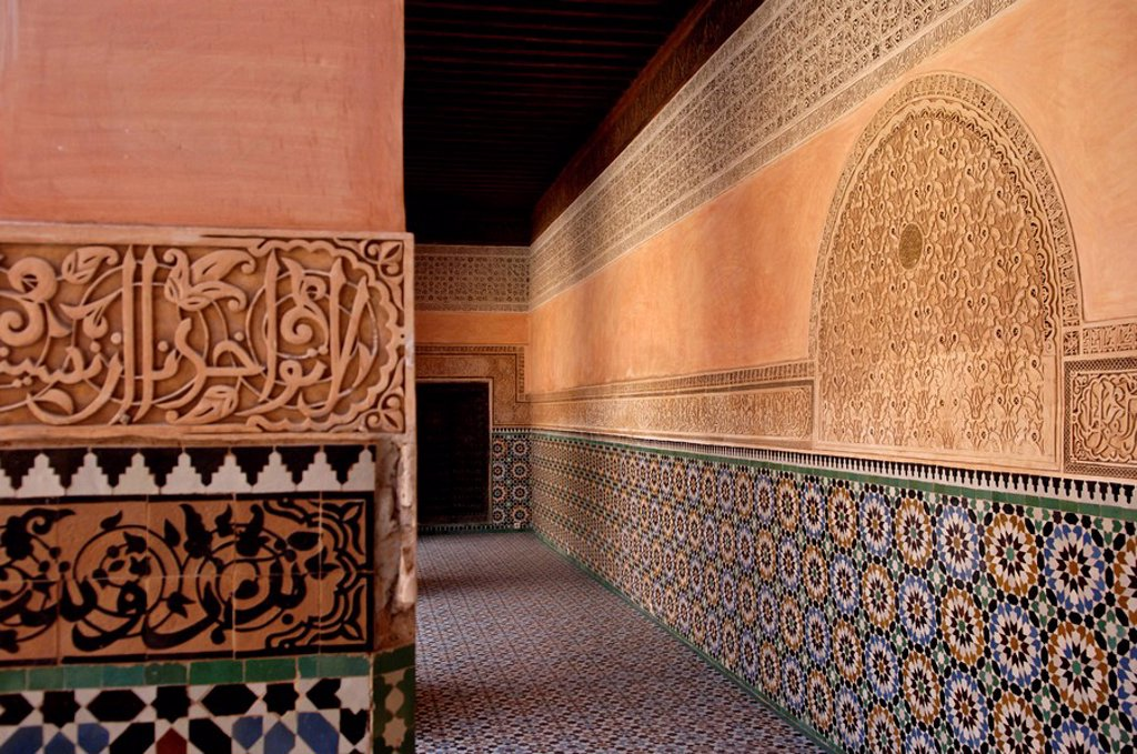 Stock Photo: 1890-43598 The Medersa Ben Youssef, the largest in Morocco, built by the Almoravide dynasty and then rebuilt in the 19th century, richly decorated in marble, carved wood and plasterwork, Medina, Marrakesh, Morroco, North Africa, Africa
