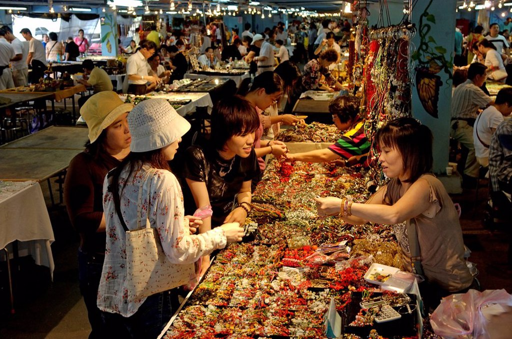 Stock Photo: 1890-43917 Jian Guo Holiday flower and jade market, Taipei, Taiwan, Republic of China, Asia