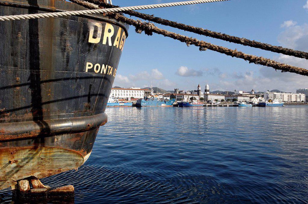 Stock Photo: 1890-44017 The harbour, Ponta Delgada, Sao Miguel Island, Azores, Portugal, Europe