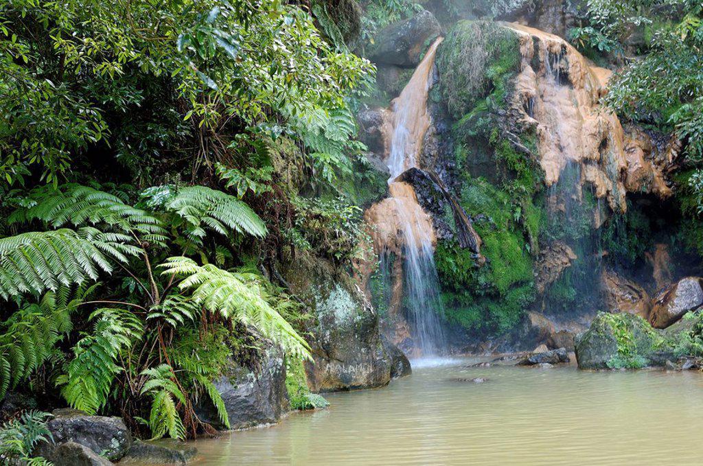 Caldeira Velha hot waterfalls, Sao Miguel Island, Azores, Portugal, Europe : Stock Photo