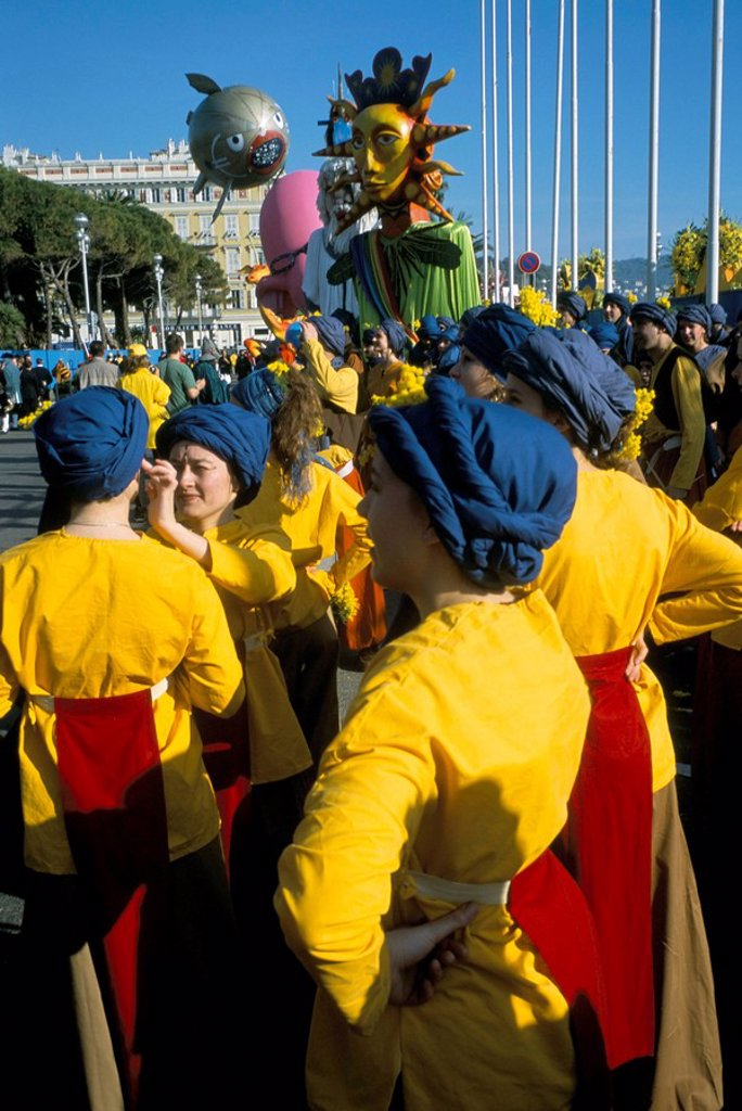 Stock Photo: 1890-44126 Battle of the Flowers, Carnival, Promenade des Anglais, Nice, Alpes_Maritimes, Provence, France, Europe