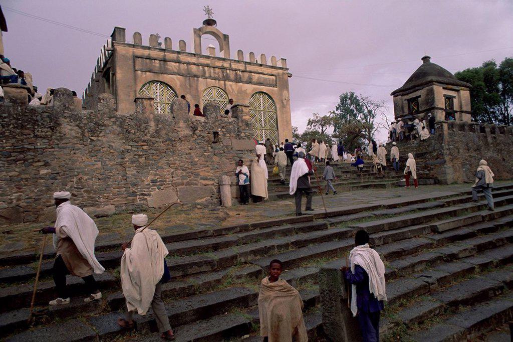 Stock Photo: 1890-44481 Christian pilgrims, Easter festival, Sainte Marie de Sion, Axoum Axum Aksum, Tigre region, Ethiopia, Africa