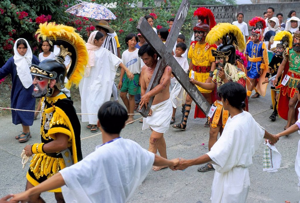 Christ of Calvary in Easter procession, Morionnes, island of Marinduque, Philippines, Southeast Asia, Asia : Stock Photo