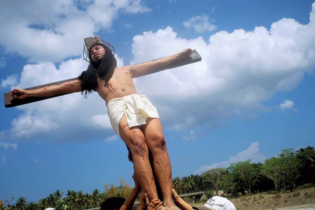 Crucifixion, Christ of Calvary, Easter procession, Morionnes, island of Marinduque, Philippines, Southeast Asia, Asia : Stock Photo