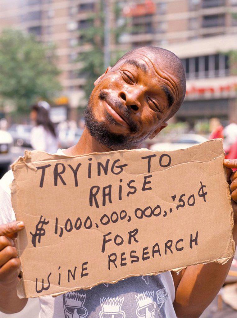 Stock Photo: 1890-44665 Homeless man, New York, New York State, United States of America, North America