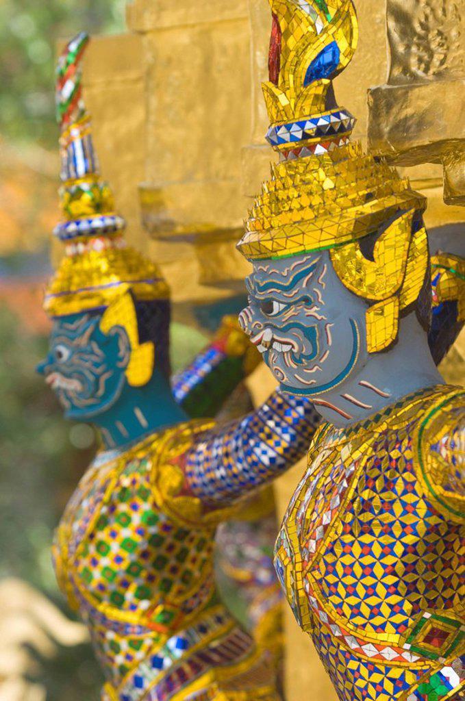 Decorated figures, Grand Palace, Bangkok, Thailand, Southeast Asia, Asia : Stock Photo