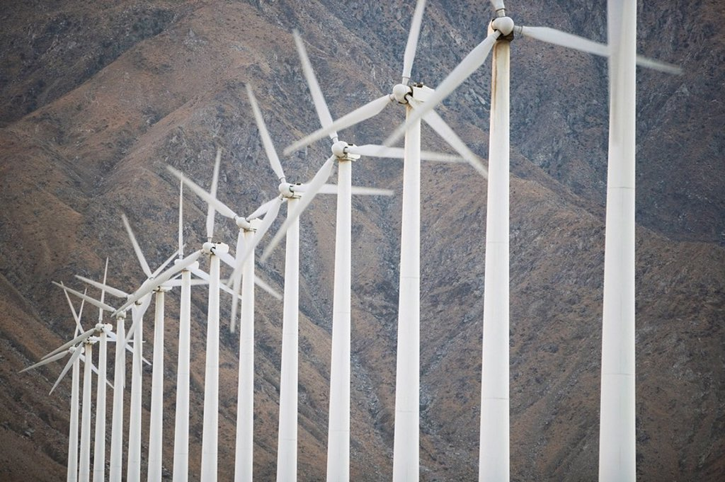 Stock Photo: 1890-45368 Wind Farm, Palm Springs, United States of America, North America