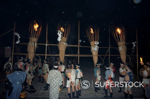 Procession of torches and traditional costumes at Hi Matsuri fire festival, Kurama village, Kyoto, Japan, Asia : Stock Photo