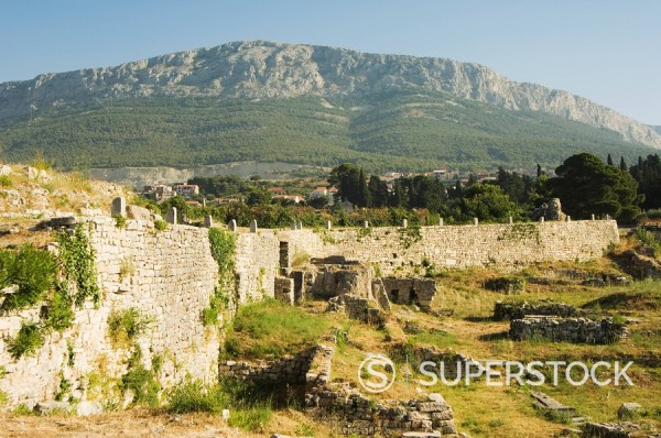 Archaeological ruins of the ancient city of Solin known as Salona by the Romans, Split, Dalmatia Coast, Croatia, Europe : Stock Photo