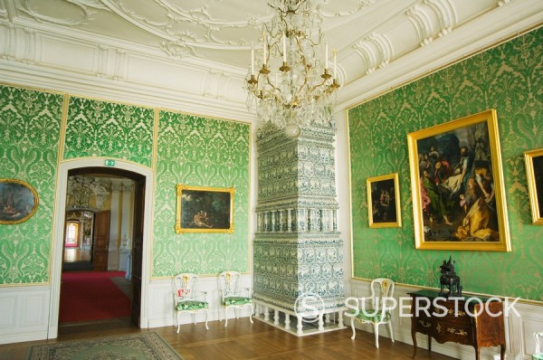 Interior, Baroque style Rundales Palace Rundales Pils designed by Bartolomeo Rastrelli, built in 18th century for Ernst Johann von Buhren, Duke of Courland, Zemgale, near Bauska, Latvia, Baltic States, Europe : Stock Photo