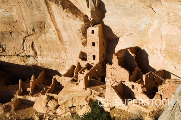 Mesa Top Loop Road Ruins, Pueblo ruins in Mesa Verde containing some of the most elaborte Pueblo dwellings found today, Mesa Verde National Park, UNESCO World Heritage Site, Colorado, United States of America, North America : Stock Photo