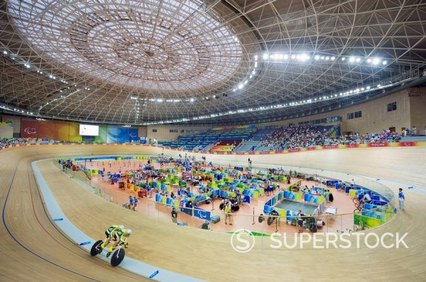 Cycling event during the 2008 Paralympic Games at Laoshan Velodrome, Beijing, China, Asia : Stock Photo