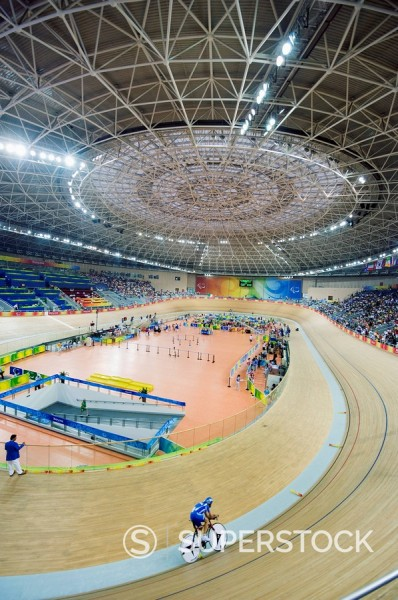 Stock Photo: 1890-46980 Cycling event during the 2008 Paralympic Games at Laoshan Velodrome, Beijing, China, Asia