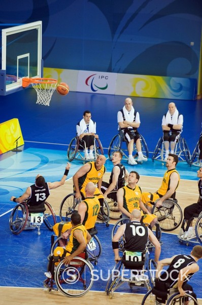 South Africa versus Germany wheelchair basketball match during the 2008 Paralympic Games, Beijing, China, Asia : Stock Photo