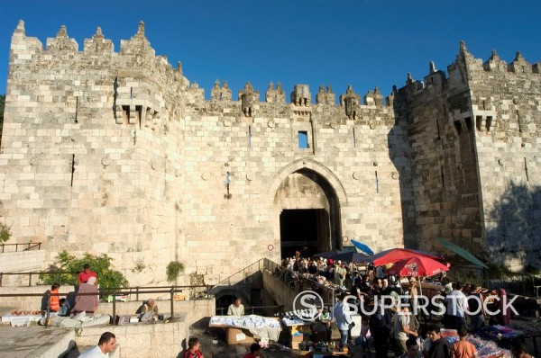 Stock Photo: 1890-47206 Market at the Damascus Gate, Old Walled City, Jerusalem, Israel, Middle East