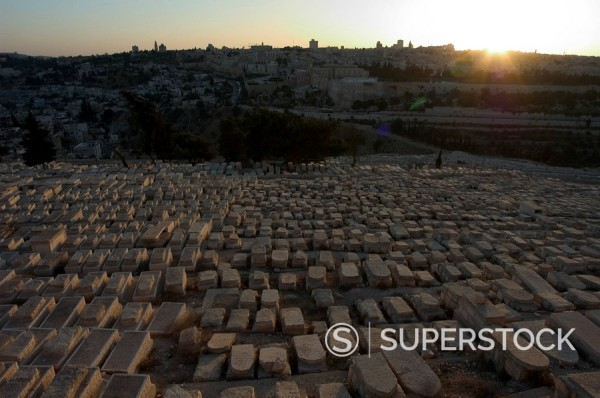 Sunset, Jewish Cemetery, Mount of Olives, Jerusalem, Israel, Middle East : Stock Photo