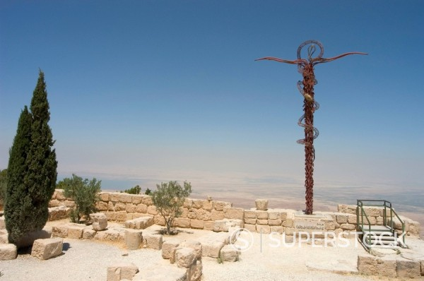 Memorial cross and church ruins, Moses Memorial Church, Mount Nebo, East Bank Plateau, Jordan, Middle East : Stock Photo