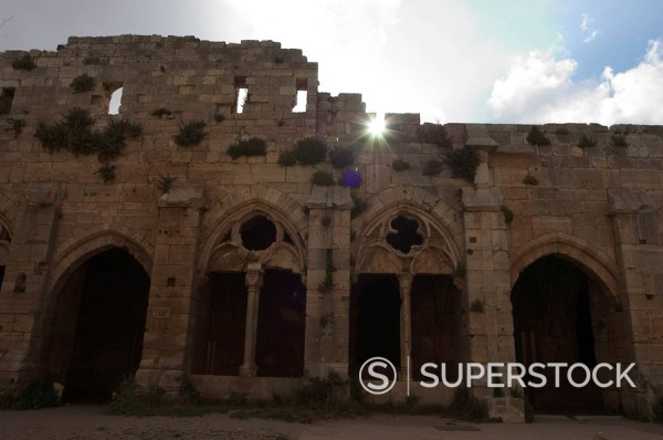 The Loggia, Gothic facade, Krak des Chevaliers castle Qala´at al_Hosn, Syria, Middle East : Stock Photo