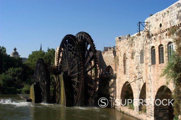 Mosque, water wheel on the Orontes River, Hama, Syria, Middle East : Stock Photo