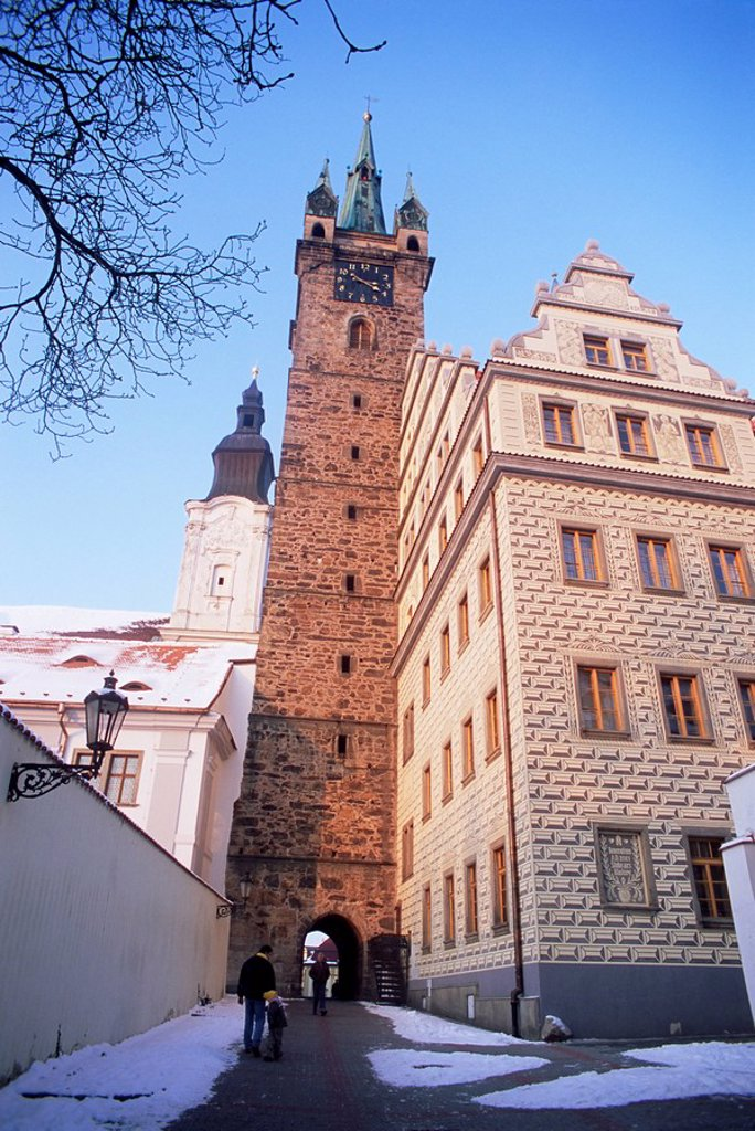 Stock Photo: 1890-47960 Gothic Black Tower dating from 1557 and rear of Renaissance Town Hall with neo_Renaissance facade by architect Josef Fanta from 1925, Klatovy, Plzensko, Czech Republic, Europe