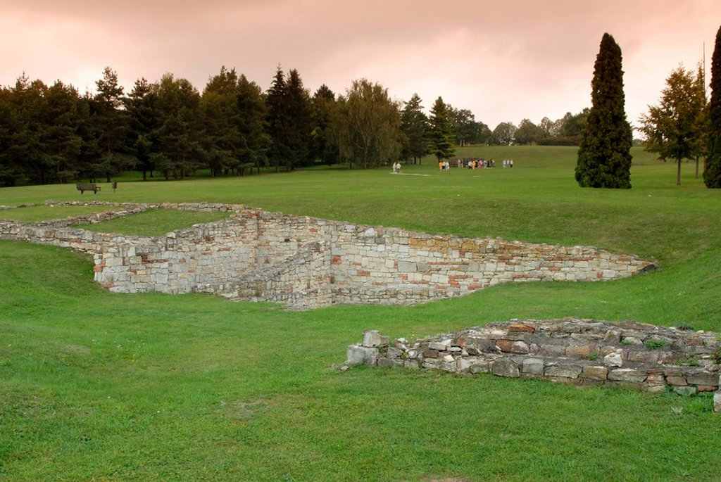 Foundations of former houses of village destroyed by Nazis during WWII as revenge after Czech Resistance assassinated Nazi governor of occupied Czechia Reinhard Heydrich, Lidice, Central Bohemia, Czech Republic, Europe : Stock Photo