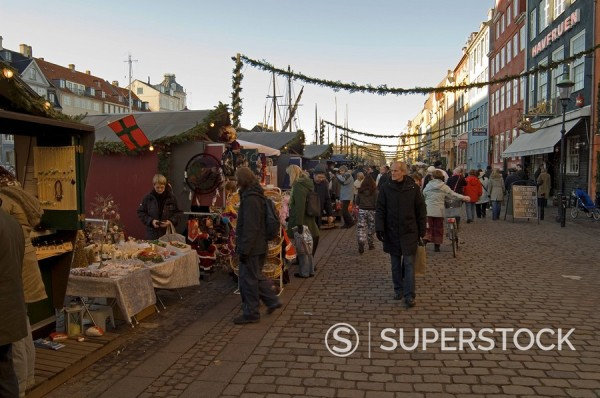 Stock Photo: 1890-48734 Nyhavn at Christmas, Copenhagen, Denmark, Scandinavia, Europe
