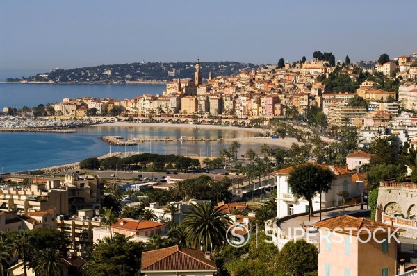 Menton, Alpes Maritimes, Provence, Cote d´Azur, French Riviera, France, Mediterranean, Europe : Stock Photo