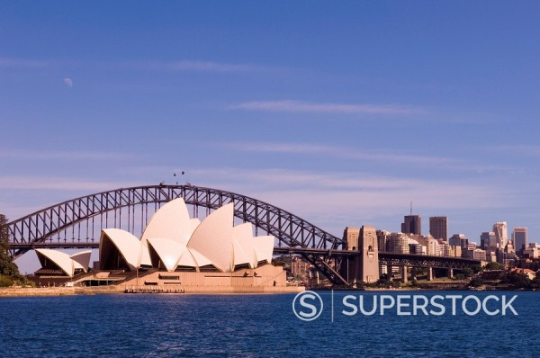 Stock Photo: 1890-49053 Opera House and Harbour Bridge, Sydney, New South Wales, Australia, Pacific