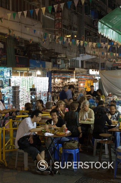 Temple Street Night Market, Yau Ma Tei district, Kowloon, Hong Kong, China, Asia : Stock Photo